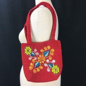 Red Embroidered Floral Handbag Clutch